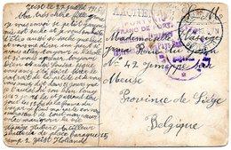 CF Expédiée Vers Jemeppe-sur-Meuse Par Un Militaire Interné Au Camp De ZEIST (P.-B.) - WW I