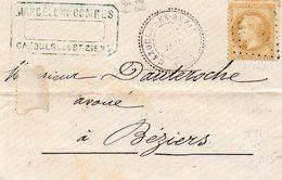 P.c.4953 CAZOULS LES BEZIERS (33),cachet 24,Timbre N° 28a,L.S.C. Du 21/3/69. - 1849-1876: Période Classique