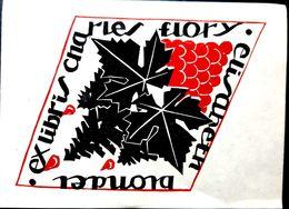 EX LIBRIS CHARLES FLORY ELISABETH BLONDEL PAMPRE DE VIGNES ET GRAPPE 13 X 9 CM - Ex-libris
