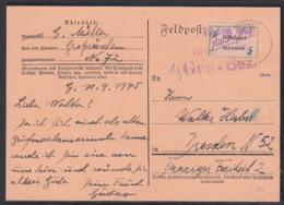 """SBZ Lokalausgabe Grossräschen Vorläufer V3a Karte Mit Postzettel """"unbekannt"""", Geprüft Löbner 12. Sep. 1945 - Soviet Zone"""
