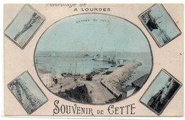 Souvenir De CETTE (SETE) - Fantaisie - Pélerinage A Lourdes  - Vues Multiples    (740 ASO) - Sete (Cette)