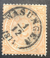 """NDP """"WASUNGEN 1871"""" Seltener Thurn Und Taxis NV-Stempel Auf Guter Mi. 20  (Sachsen-Meiningen - Norddeutscher Postbezirk (Confederazione Germ. Del Nord)"""