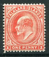 Falkland Islands 1904-1912 KEVII 1d Vermilion - Wmk. Sideways - HM (SG 44b) - Falkland