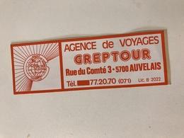 Autocollant Ancien AGENCE De VOYAGE GREPTOUR AUVELAIS - Autocollants