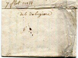 Deboursé Man De Beziers Sur Lettre De Toulouse Du 7 Floreal An 11 Taxée à 8 D - Marcophilie (Lettres)