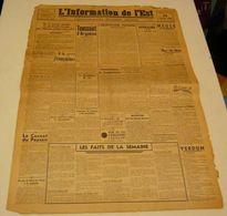 L'information De L'Est Du 29 Octobre 1943.(les Jeunes Du S.T.O) - Revues & Journaux