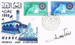 MAROC  ENVELOPPE + TIMBRES + OBLITIRATIONS 1968  TBE  EN 79 - Marokko (1956-...)