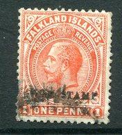 Falkland Islands 1918-19 KGV War Stamp -  1d Orange-vermilion Used (SG 71c) - Falklandeilanden