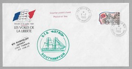 """Tir - Les VOILES De La LIBERTE - ROUEN - Enveloppe Du 11.7.1989 Avec LOGO Officiel - Superbes Cachets """" BELEM / ASTRID """" - Poststempel (Briefe)"""