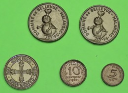 Lot De 5 Pièces PLASTIQUE Fictives Et Publicitée - PERE DODU - CAFES LEGAL - 2 En Francs - Années 1960 - Specimen