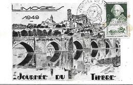 828 - JOURNEE DU TIMBRE 1949 - DE CHOISEUL 26 MARS 1949 - LIMOGES - FDC