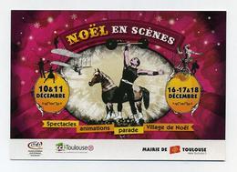 CP Pub - Noël En Scènes - Spectacles Cirque Parade Animations - Visuel : Cheval, Monocycle, ULM Vintage, Haltérophilie - Evénements