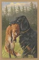 CHASSE - HUNTING -  DOG - Tete Chien Gibier Dans La Gueule Signée MÜLLER MÜNCHEN - Renard - Chasse