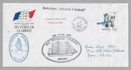 """Tir - Les VOILES De La LIBERTE - ROUEN - Pli """"PAQUEBOT"""" Du 12.7.1989 Avec LOGO Officiel - """"STATSRAAD LEHMKUHL """" - Postmark Collection (Covers)"""