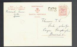 CP 163 II De Griffe De Gare Gits / Kortrijk  => Brussel - Cartes Postales [1951-..]