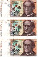 3 Billetes De 5000 Pesetas De 1992 - [ 4] 1975-… : Juan Carlos I