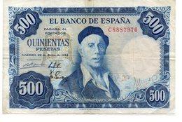 Billete De 500 Pesetas De 1954 - [ 3] 1936-1975 : Regime Di Franco