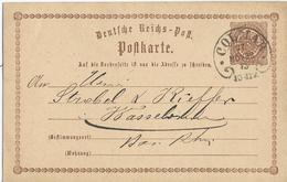 ENTIER POSTAL 1873 AVEC CACHET FER A CHEVAL ALLEMAND DE COLMAR - Marcophilie (Lettres)