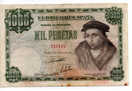 Billete De  1000 Pesetas Año 1946 - [ 3] 1936-1975 : Régence De Franco