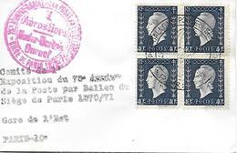 684 - 75e ANNIVERSAIRE DE LA POSTE EN BALLON - SIÈGE DE PARIS 1870 - Oblitération 27 Janvier 1946 - Marcophilie (Lettres)