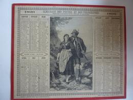 ALMANACH 1896  CALENDRIER  DES POSTES + 3 Pages Organisation Du Service ALEGORIE  LA CHASSE  -Edit VILAIN  CLAS MAI 2020 - Calendari