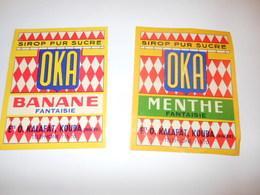 P180 - Lot De 2 étiquettes De Sirop OKA Banane Menthe - Kalafat à Kouba En Algérie - Etiquetas