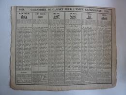 ALMANACH  CALENDRIER  DE CABINET POUR L'ANNEE GREGORIENNE 1838- 2 SEMESTRIELS  Allégorie Signes Zodiaques  P4 - Calendari