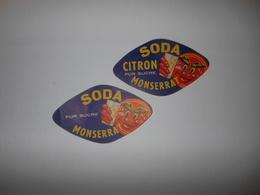 P192 - Lot De 2 étiquettes Anciennes De SODA CITRON ( LIMONADE ) Montserrat - Algérie - Other