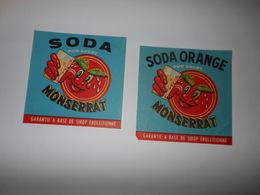 P195 - Lot De 2 étiquettes Anciennes De Soda Et Soda Orange - Limonade Montserrat - Algérie - Other