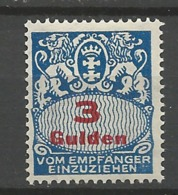 Danzig Duty Stamps  1927 Mi.Nr.:39 Coat Of Arms 3 Gulden  Mint  Hinged X - Danzig