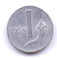 ITALIA 1954: 1 Lira, KM 91 - 1946-… : Republic