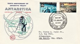 AAT Australian Antarctic Territory - Antarctic Treaty FDC Davis 1972 - Brieven En Documenten