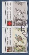 = Croix Rouge Motif D'une Soierie De Lyon N°2612a Oblitéré Avec La Vignette Du Carnet, Oiseau, Nid Et Oisillons - Gebruikt