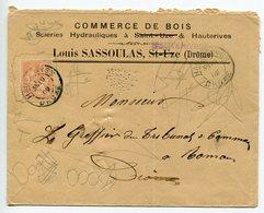 ENVELOPPE Louis SASSOULAS Commerce De Bois à HAUTERIVES       Drôme 1902 - Marcophilie (Lettres)
