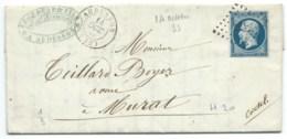 N° 14 BLEU NAPOLEON SUR LETTRE / AUBUSSON POUR MURAT / 14 OCT 1855 - Postmark Collection (Covers)