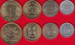 Iceland Set Of 4 Coins: 10 Aurar - 1 Krona 1967-1974 UNC - Iceland