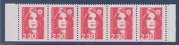 Marianne De Briat Dite Du Bicentenaire N°2629 Neuf 2.30 Rouge Bande De Carnet 5 Timbres - 1989-96 Marianne Du Bicentenaire