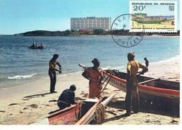 CARTE MAXIMUM  GRANDE PIROGUE A SEUMBEDIOUNE 1965 - Senegal (1960-...)