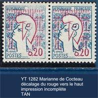 """FR Variété YT 1282 """" Marianne De Cocteau """" Décalage Du Rouge Impression Incomplète TAN - Varieties: 1960-69 Mint/hinged"""
