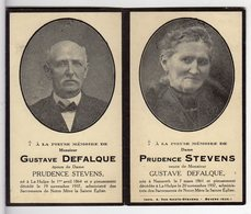 Doodsprentje G. DEFALQUE °1864 La Hulpe +1937 & P. STEVENS °1861 Nazareth +1937 La Hulpe - Images Religieuses