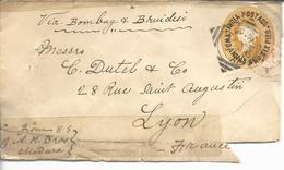 Entier Postal De Madura >> Lyon Via Bombay Et Brindisi Au T.à.d Sea Post...1895 - India (...-1947)