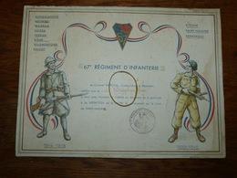 Brevet Diplome 67 E Régiment D'infanterie Pour Avoir Servi à La Libération De La Patrie Combat De Saint-Nazaire - 1939-45