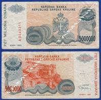 CROATIA KNIN 5000000  Dinara 1993 - Croacia