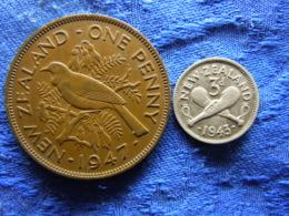 NEWZEALAND 1 PENNY 1947 KM13, 3 PENCE 1943 KM7 - Nouvelle-Zélande