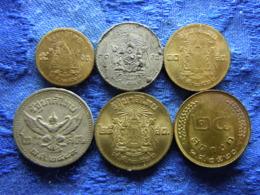 THAILAND 5 SATANG 2500/1957, 10 SATANG 2493/1950, 2500/1957, 25 SATANG 2489/1946, 2500/1957, 2520/1977 (6) - Thaïlande