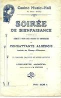 1915 WW1 PREMIERE GUERRE MONDIALE 1914 1918 ALGER ALGERIE CASINO MUSIC HALL GALA COMBATTANTS ALGEROIS  PROGRAMME - Programmes