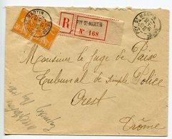 ENVELOPPE Recommandé PUY SAINT MARTIN DRÔME 1921 - Marcophilie (Lettres)