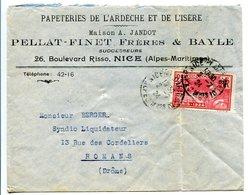 ENVELOPPE Papeteries De L'Ardèche Et De L'IS7RE MAISON A. JANDOT PELLAT FINET BAYLE 26 BD RISSO NICE 1924 - Marcophilie (Lettres)