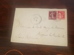NOBLESSE GENEALOGIE Enveloppe Adresse Au Monsieur Le Comte Henry De Marcien Arques La Bataille 1937 - Vieux Papiers