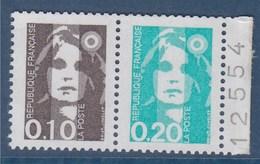Marianne De Briat Dite Du Bicentenaire N°P2617 Neuf Composé Avec 2618 Et 2617 Issu De Carnet Bord Numéroté 12554 - 1989-96 Marianne (Zweihunderjahrfeier)